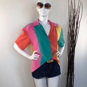 Howard Wolf | Vintage Colorblocked Blouse